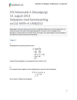 STX Matematik A NET 2013 14. august - Delprøven med autoriseret formelsamling