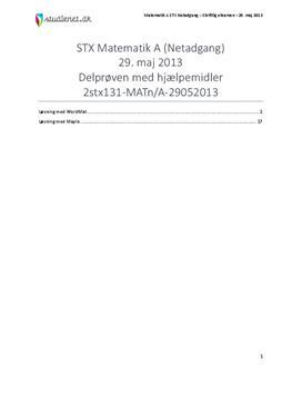 STX Matematik A NET 2013 29. maj - Delprøven med alle hjælpemidler