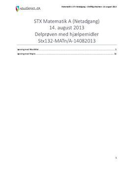 STX Matematik A NET 2013 14. august - Delprøven med alle hjælpemidler