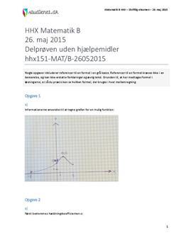 HHX Matematik B 2015 26. maj - Delprøven uden hjælpemidler