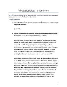 Rapport om arbejdsfysiologi i badminton