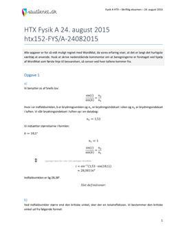 HTX Fysik A 2015 24. august - Besvarelse af eksamenssæt