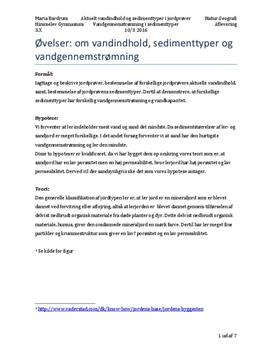 Sedimenttyper | Rapport | Naturgeografi B