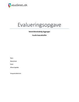 Eksempel på evalueringsopgave i NF om fossile brændstoffer