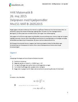 HHX Matematik B 2015 26. maj - Delprøven med hjælpemidler
