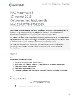 HHX Matematik B 2015 17. august - Delprøven med hjælpemidler