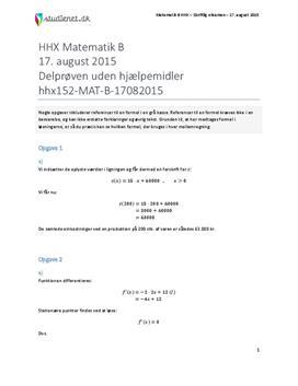 HHX Matematik B 2015 17. august - Delprøven uden hjælpemidler
