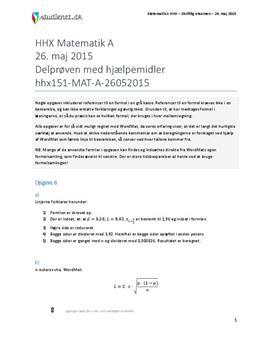 HHX Matematik A 2015 26. maj - Delprøven med hjælpemidler