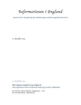 SRP om reformationen i England i Religion B og Engelsk A