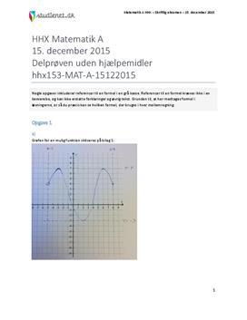 HHX Matematik A 2015 15. december - Delprøven uden hjælpemidler