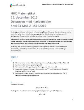 HHX Matematik A 2015 15. december - Delprøven med hjælpemidler