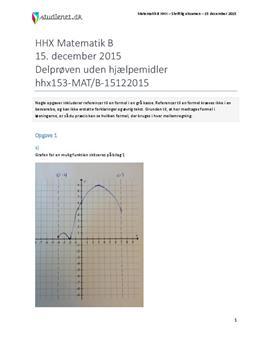HHX Matematik B 2015 15. december - Delprøven uden hjælpemidler