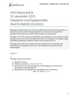HHX Matematik B 2015 15. december - Delprøven med hjælpemidler