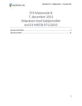 STX Matematik B 7. december 2015 - Delprøven med hjælpemidler