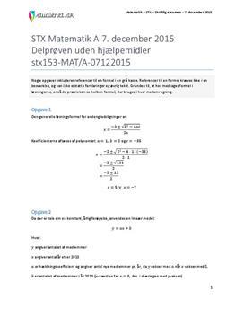 STX Matematik A 7. december 2015 - Delprøven uden hjælpemidler