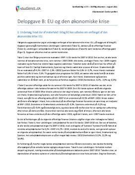 Delopgave B: EU og den økonomiske krise | Samfundsfag A