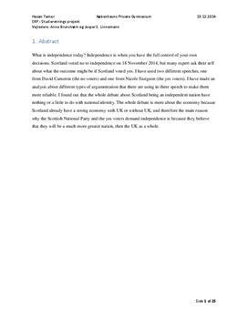 SRP om Skotlands selvstændighed i Engelsk A og Historie A