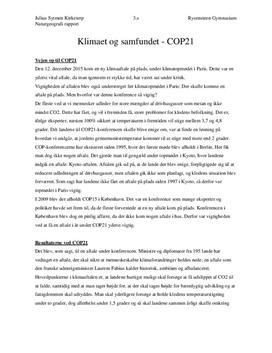 Klimaet og samfundet - COP21 | Rapport | Naturgeografi B