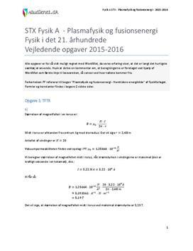 Plasmafysik og fusionsenergi | Fysik i det 21. århundrede | Vejledende opgaver