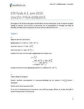 STX Fysik A 2015 2. juni - Besvarelse af eksamenssæt