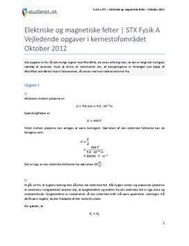 Besvarelse: Elektriske og magnetiske felter | Vejledende opgaver