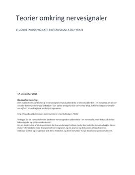 SRP om nervesystemet og impulsmodeller i Fysik B og Bioteknologi A