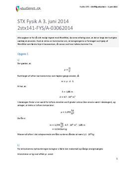 STX Fysik A 2014 3. juni - Besvarelse af eksamenssæt