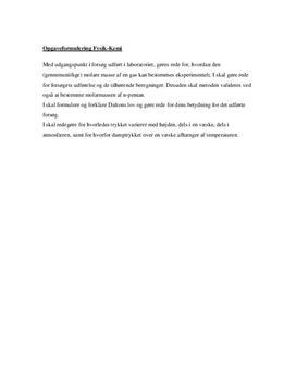 SRO om idealgasloven i Fysik B og Kemi B