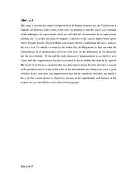 SRP om impressionisme i fransk billedkunst og litteratur