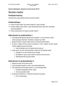 Synopsis om sociale medier og unges identitetsdannelse i Samfundsfag B