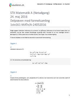 STX Matematik A NET 2016 24. maj - Delprøven med autoriseret formelsamling