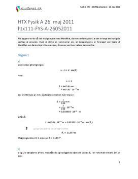 HTX Fysik A 2011 26. maj - Besvarelse af eksamenssæt