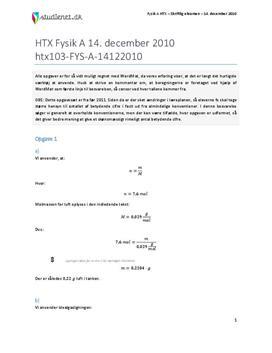 HTX Fysik A 2010 14. december - Besvarelse af eksamenssæt