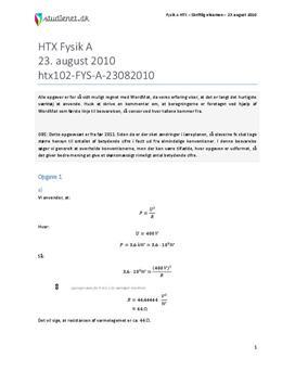 HTX Fysik A 2010 23. august - Besvarelse af eksamenssæt