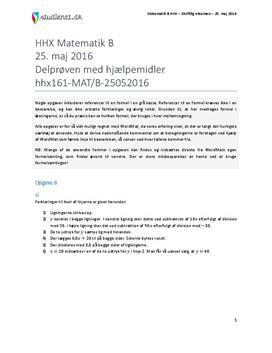 HHX Matematik B 2016 25. maj - Delprøven med hjælpemidler