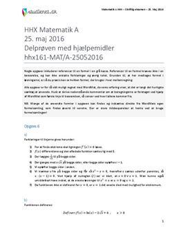 HHX Matematik A 2016 25. maj - Delprøven med hjælpemidler