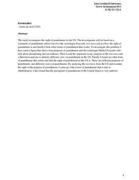 SRO om kriminalitet og synet på straf i USA