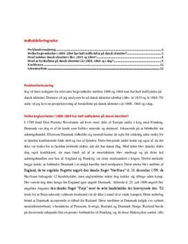 Historieopgave om dansk identitet 1800-1864