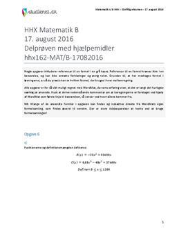 HHX Matematik B 2016 17. august - Delprøven med hjælpemidler