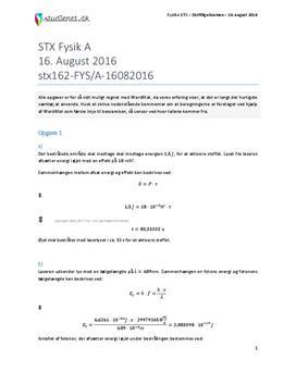 STX Fysik A 2016 16. august - Besvarelse af eksamenssæt