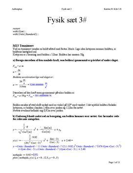 Opgaver i Fysik A-niveau: M13, M15, M17, M18, M26