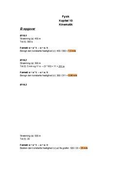 """Øvelser og opgaver fra kapitel 10 """"Kinematik: Hvordan ting bevæger sig"""" i ORBIT B htx"""