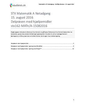 STX Matematik A NET 2016 15. august - Vejledende besvarelse