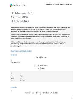 HF Matematik B 15. maj 2007 - Vejledende besvarelse