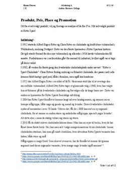 Ritter Sport   De fire P'er   Analyse af marketingmix