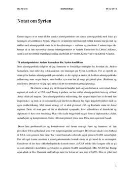 Notat om Syrien til Udenrigsministeren