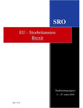 SRO om Brexit i Engelsk A og Samfundsfag A