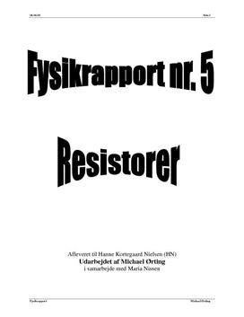 Eftervisning af Ohms Lov - Rapport i Fysik