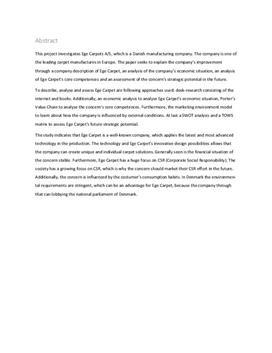 SRP om Egetæpper i Virksomhedsøkonomi og Afsætning