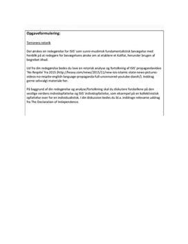 SRP om Terrorens Retorik og Islamisk Stat   Engelsk A og Religion B